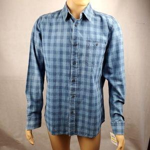 American Rag Blue Plaid Flannel Button Down Size M